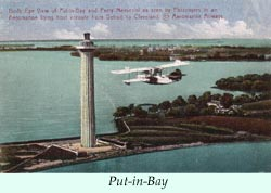 To larger photo of an Aeromarine flying boat over Put-in-Bay