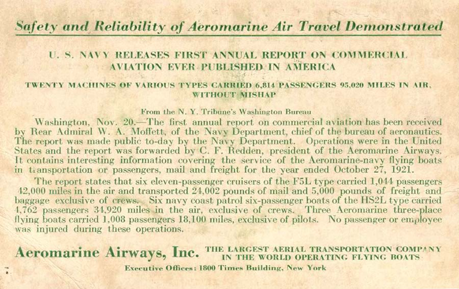 Flyer with annual operating report, 1921
