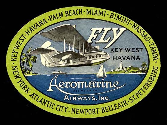 Aeromarine Airways baggage label, 1921