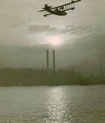 The Aeromarine Model 75 'Santa Maria' flying over Detroit in the summer of 1921. (Courtesy of Robert Fraser Farnsworth)