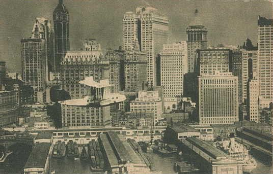 Aeromarine postcard with an Aeromarine Model 75 over NY, 1922 or 1923