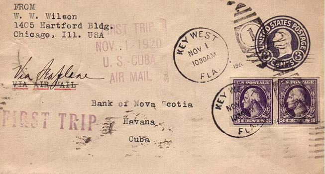 Flight cover from the first US mail and passenger flight of Aeromarine West Indies Airways, Nov 1, 1920