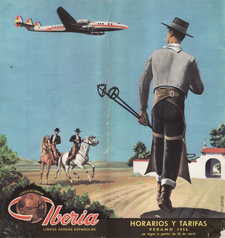 Portada de Tabla de horarios y tarifas de Iberia, de 1956. Colección de Diederik R. Vels Heijn.