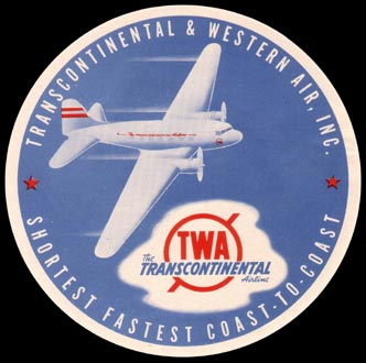 Transcontinental and Western Air luggage tag - 1940