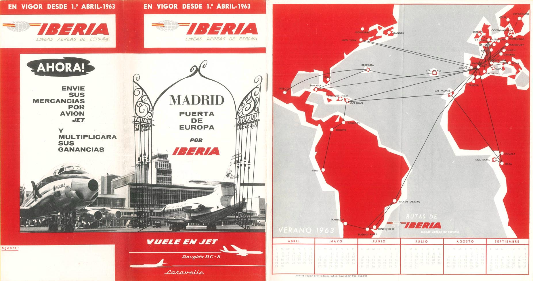 Portada de Tabla de horarios y tarifas de Iberia, de 1963. Colección de Diederik R. Vels Heijn.