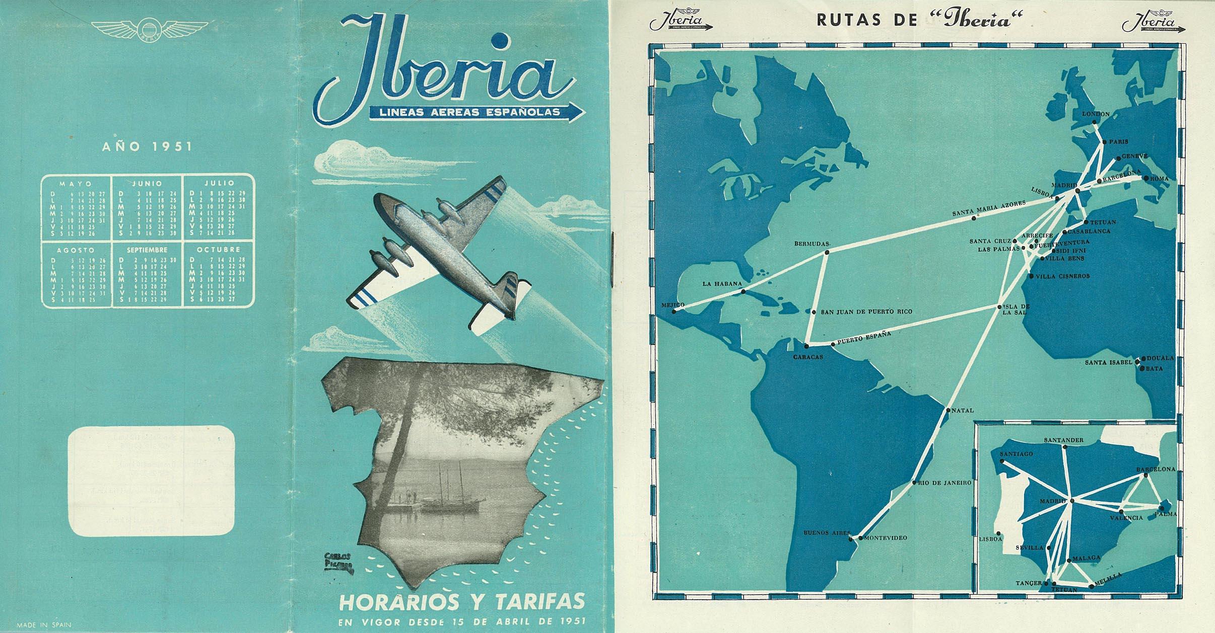 Portada de Tabla de horarios y tarifas de Iberia, de 1951. Colección de Diederik R. Vels Heijn.