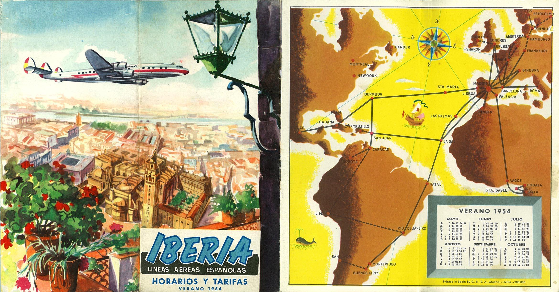 Portada de Tabla de horarios y tarifas de Iberia, de 1954. Colección de Diederik R. Vels Heijn.