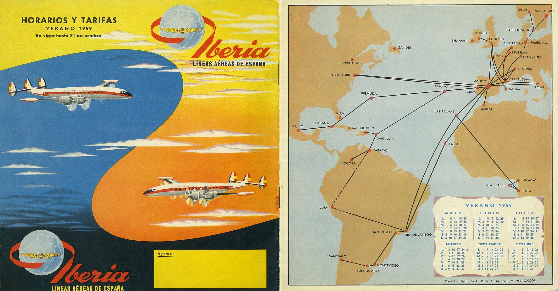 Portada de Tabla de horarios y tarifas de Iberia, de 1959. Colección de Diederik R. Vels Heijn.