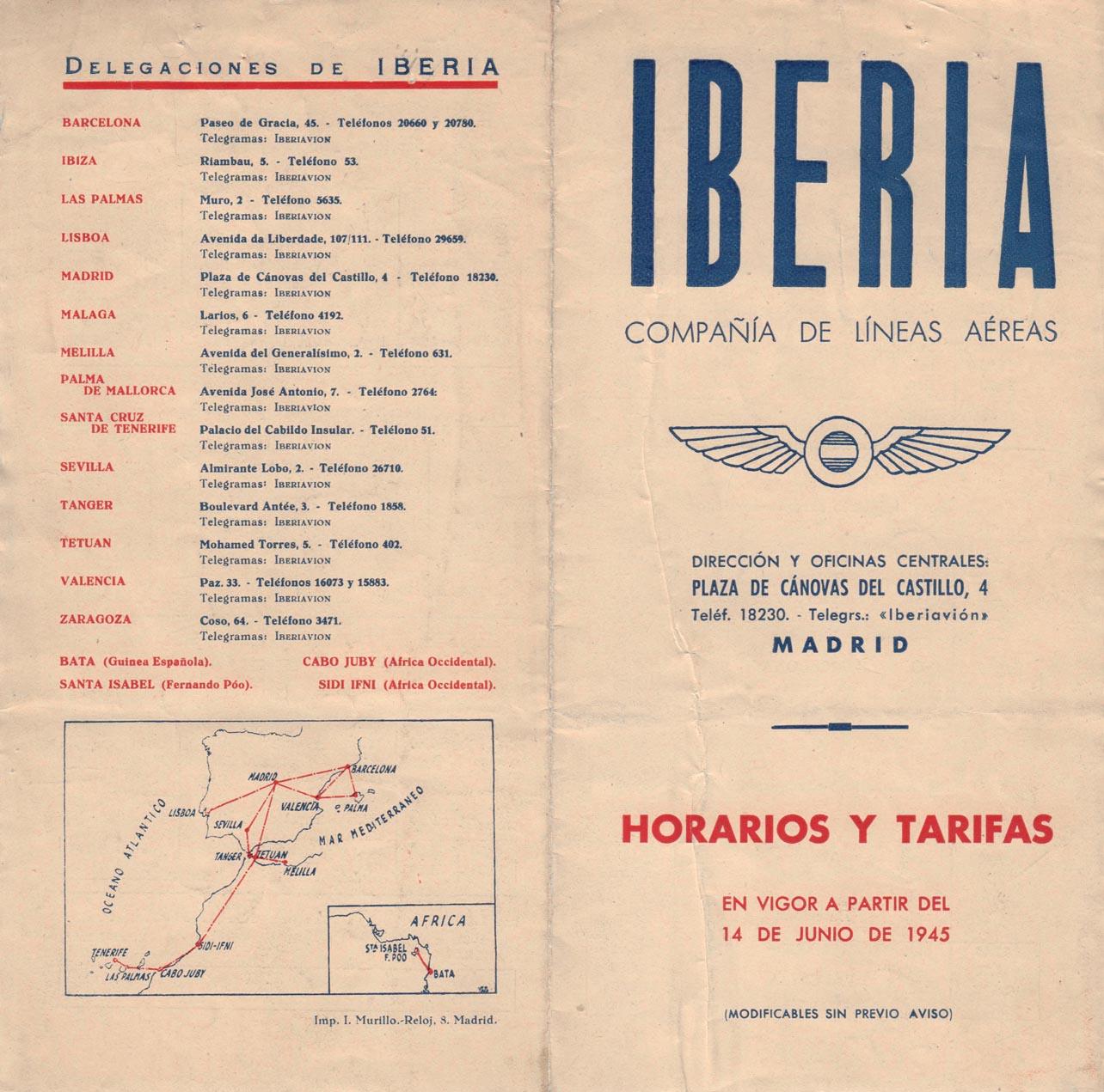 Tabla de horarios y tarifas de Iberia, vigentes desde junio de 1945. Portada/Contraportada.