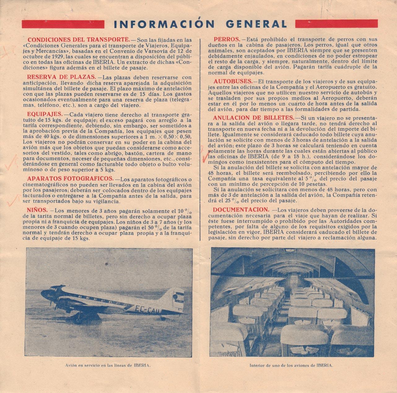 Tabla de horarios y tarifas de Iberia, vigentes desde junio de 1945. Información general y condiciones.