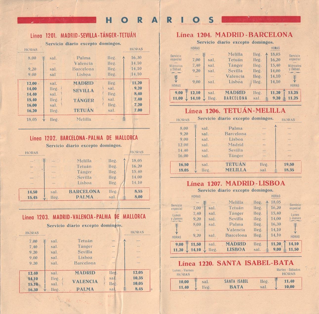 Tabla de horarios y tarifas de Iberia, vigentes desde junio de 1945. Detalle de horarios.