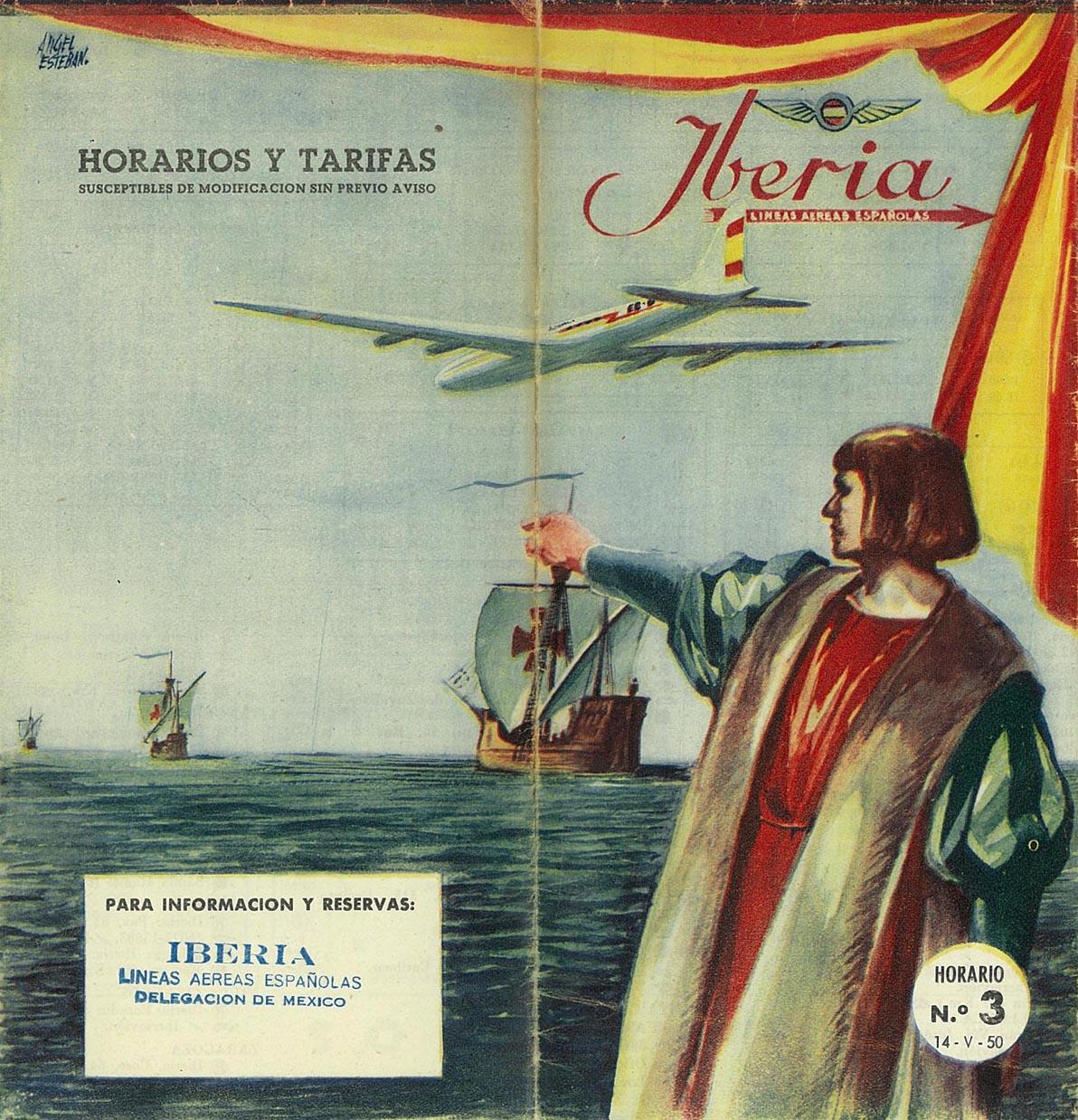 Portada de Tabla de horarios y tarifas de Iberia, de 1950. Colección de Diederik R. Vels Heijn.