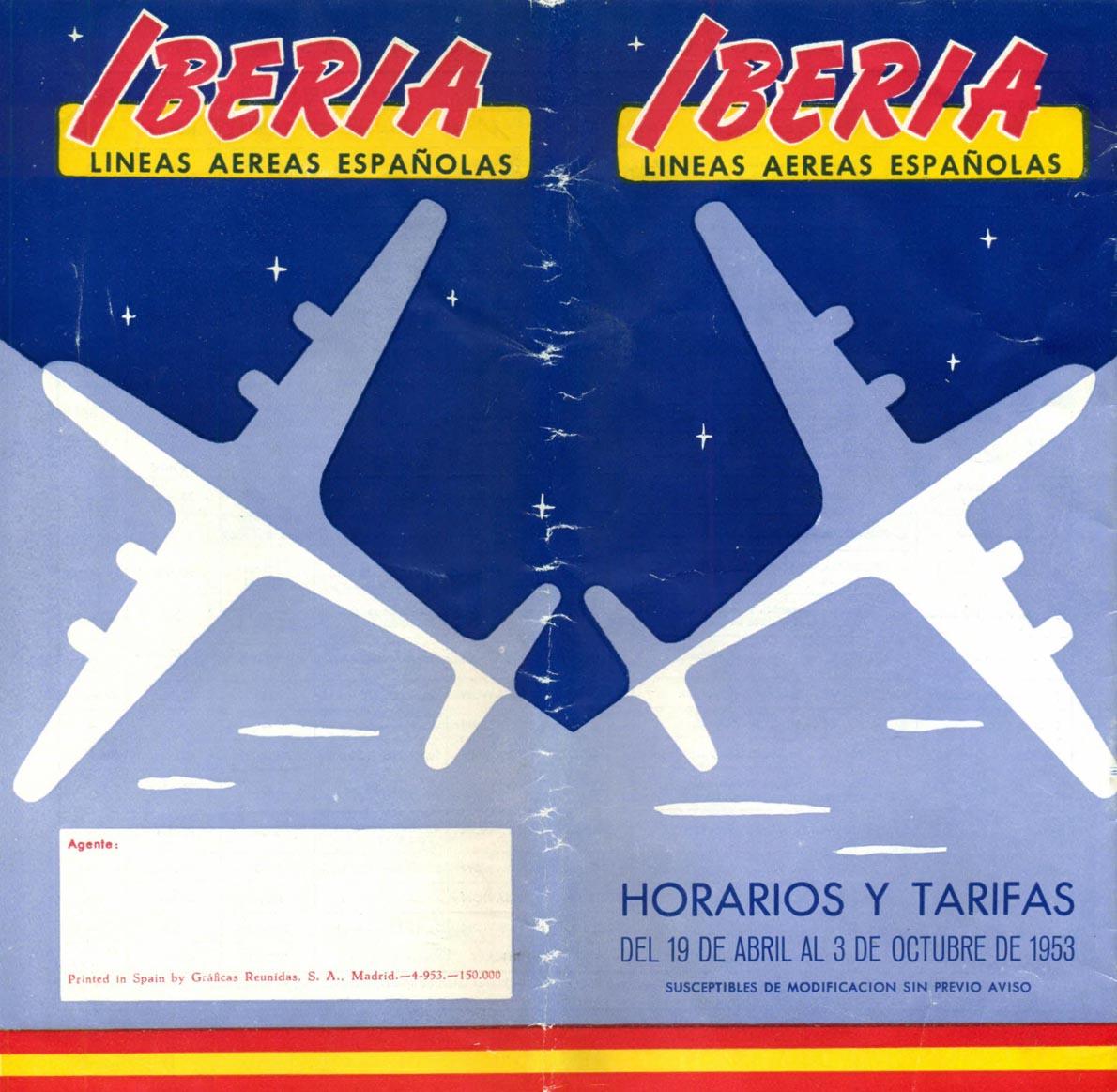 Portada de Tabla de horarios y tarifas de Iberia, de 1953. Colección de Diederik R. Vels Heijn.