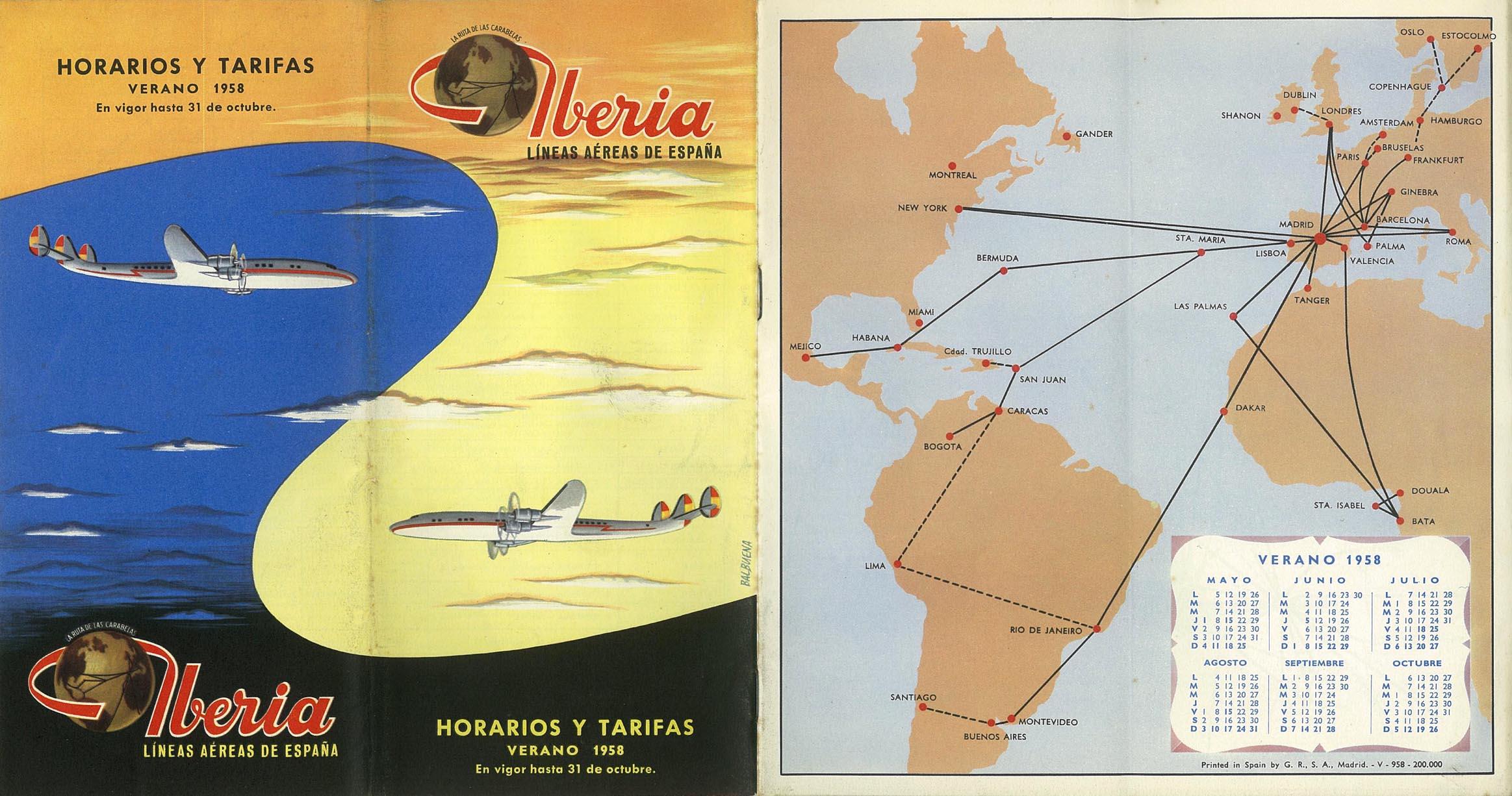 Portada de Tabla de horarios y tarifas de Iberia, de 1958. Colección de Diederik R. Vels Heijn.