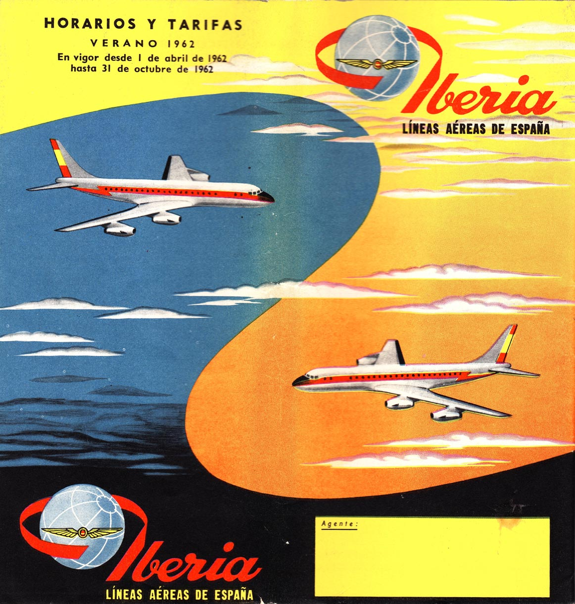 Portada de Tabla de horarios y tarifas de Iberia, de 1962. Colección de Diederik R. Vels Heijn.