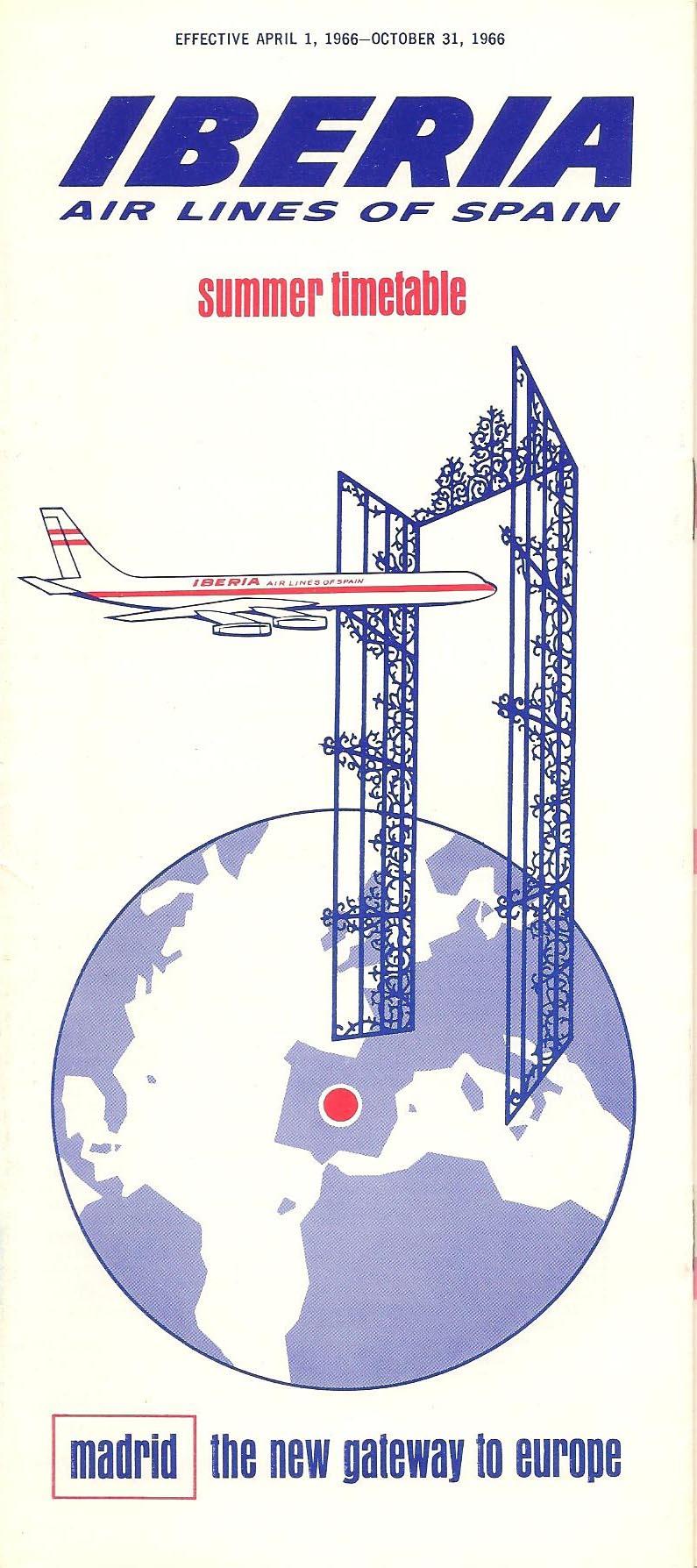 Portada de Tabla de horarios y tarifas de Iberia, de 1966. Colección de Diederik R. Vels Heijn.