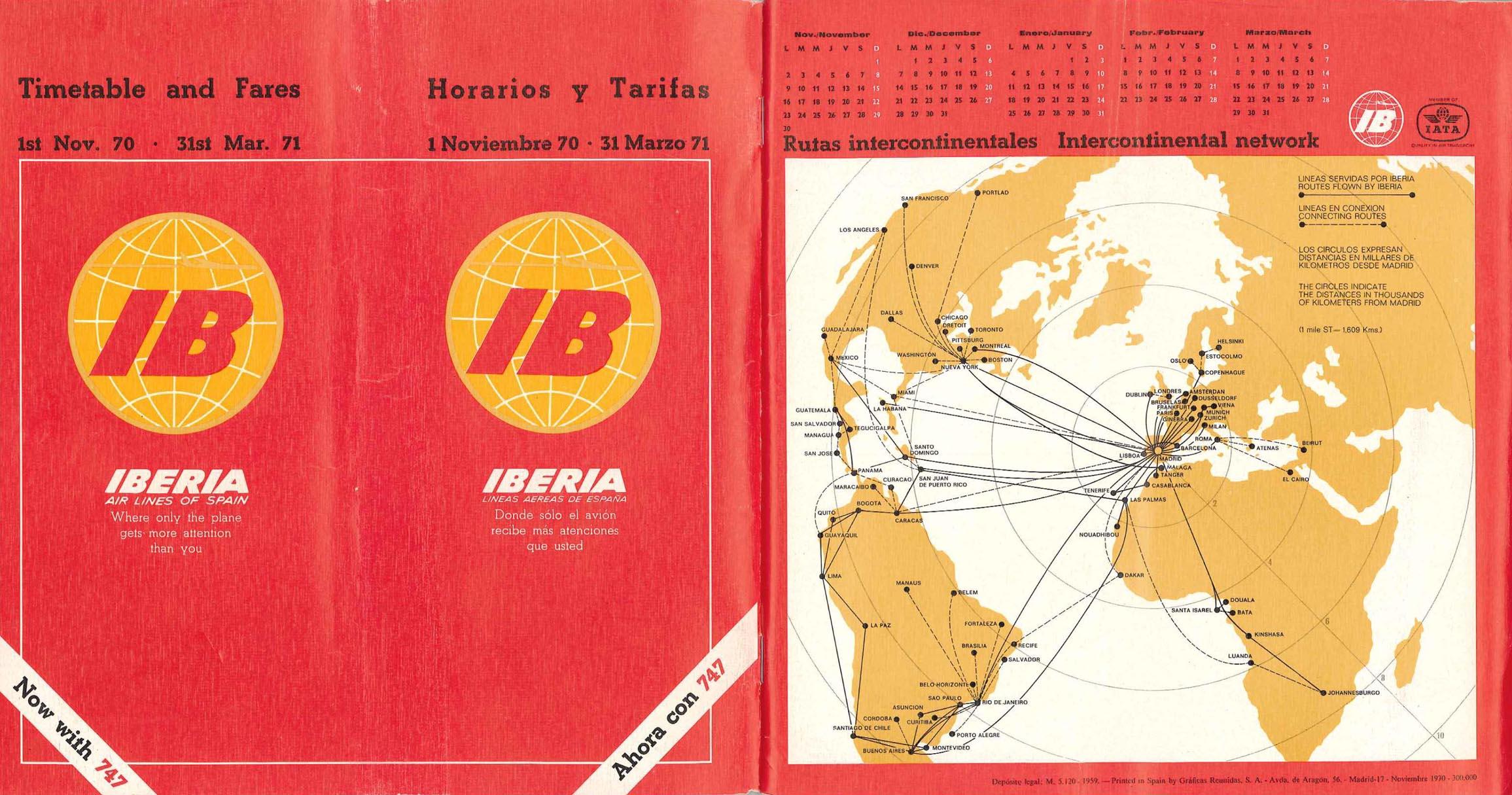 Portada de Tabla de horarios y tarifas de Iberia, de 1970. Colección de Diederik R. Vels Heijn.