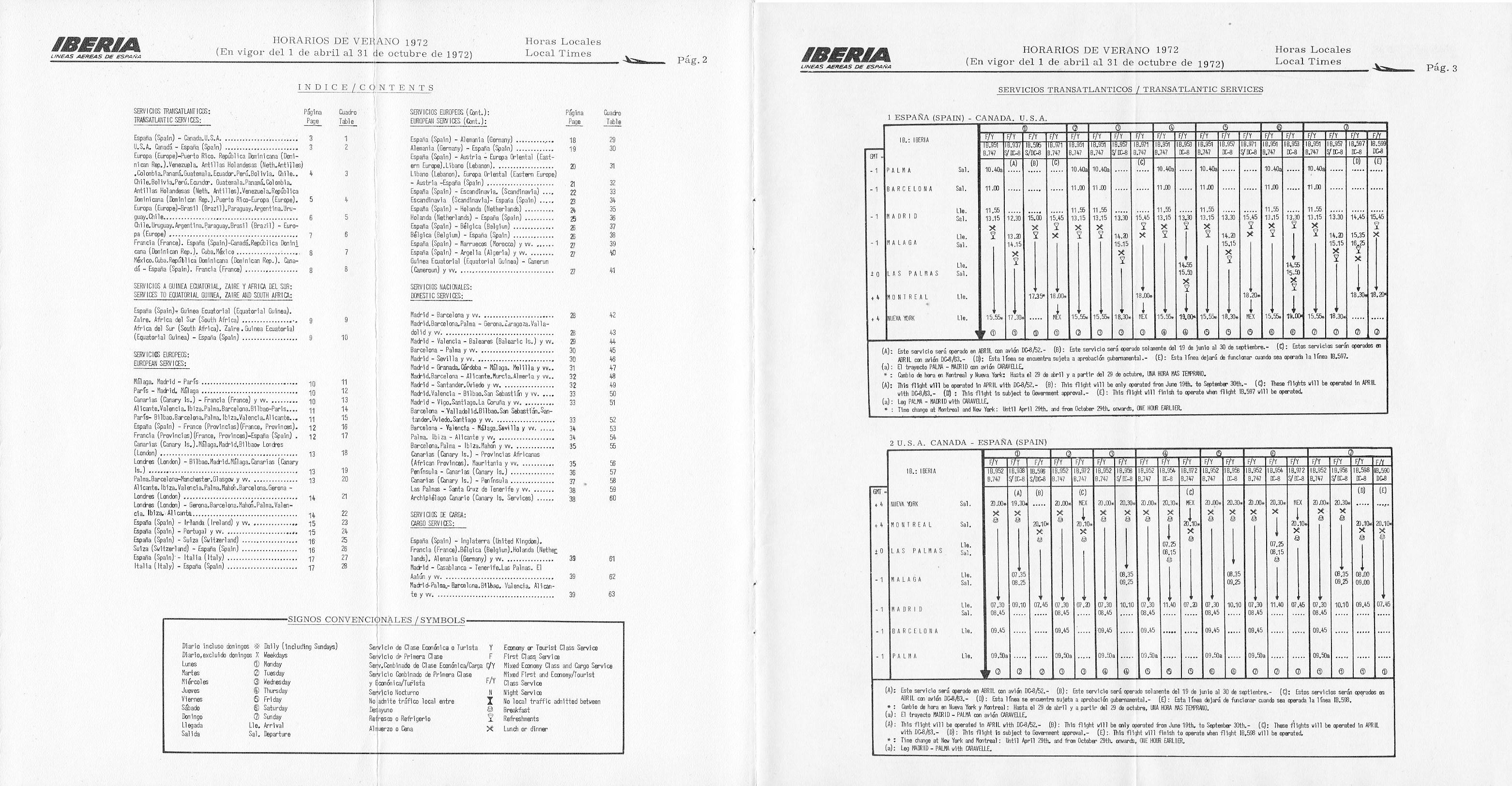 Índice de la Tabla de horarios de Iberia para el verano de 1972. Horarios y vuelos a Estados Unidos y Canadá.
