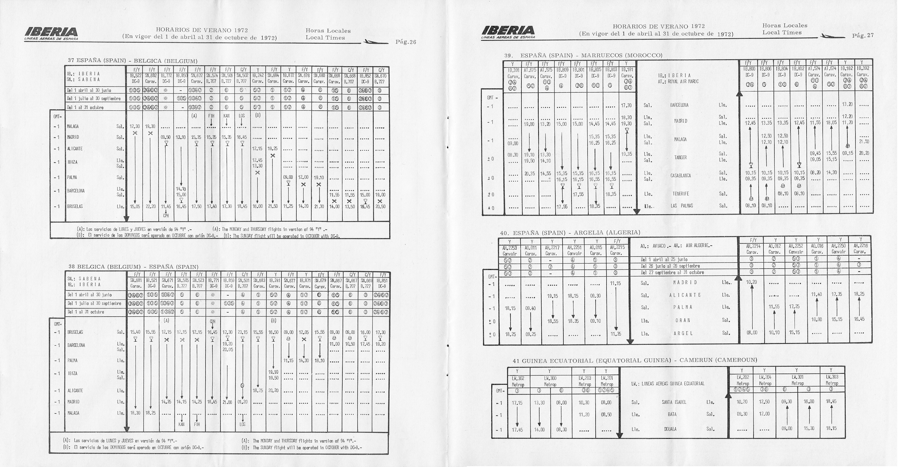 Tabla de horarios de Iberia para el verano de 1972. Horarios y vuelos a Bélgica, Marruecos, Argelia, Guinea Ecuatorial y Camerún.