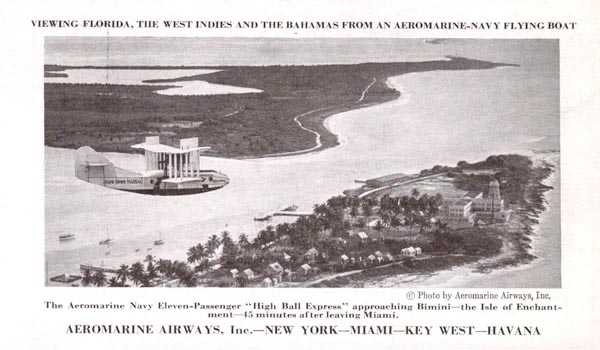 Aeromarine postcard with the 'Columbus' over Bimini, Bahamas, 1922