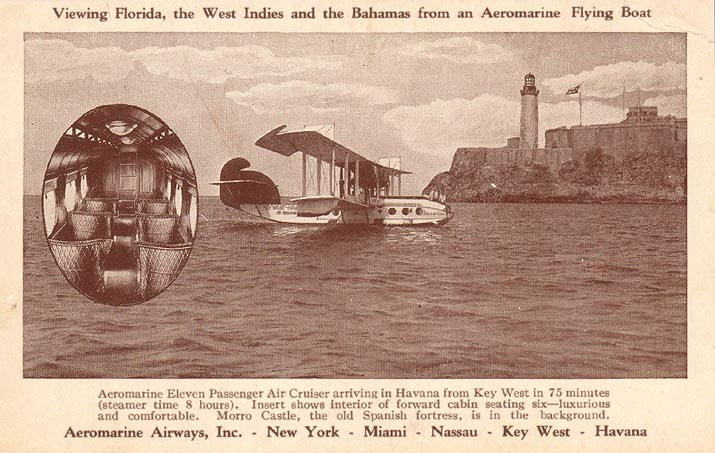 Aeromarine postcard with an Aeromarine Model 75 in Havana, 1922