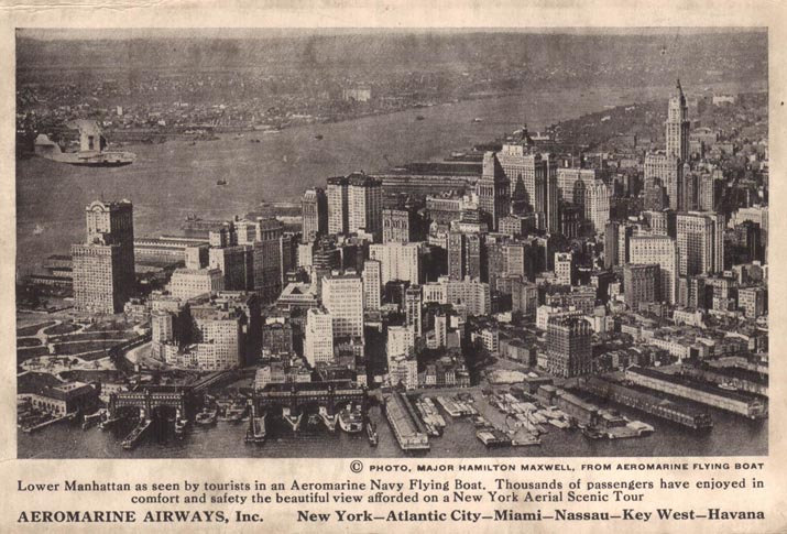 Aeromarine postcard with an Aeromarine Model 75 over NY, 1922