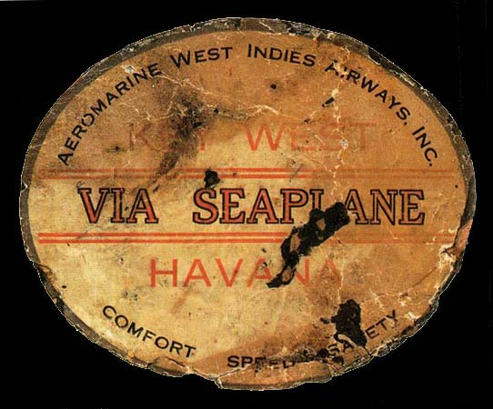 Aeromarine West Indies Airways baggage label, 1920