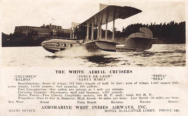 Aeromarine West Indies Airways postcard of the 'Balboa' in Miami, 1921