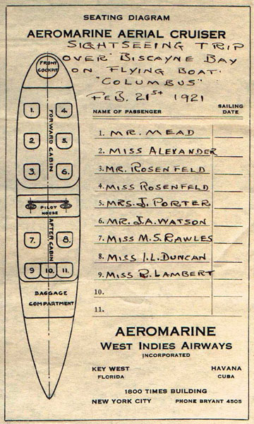 Seating chart of the 'Columbus', 1921