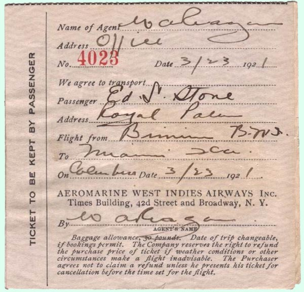 Aeromarine West Indies Airways ticket