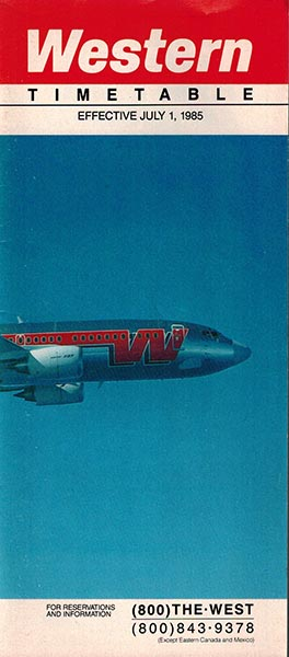 May 1 Details about  /Western Airlines Time Table 1983